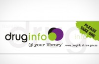Sticker design for 'drug info@ your library' Please take one site promotion
