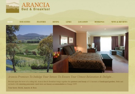 Arancia B&amp;B - home page design
