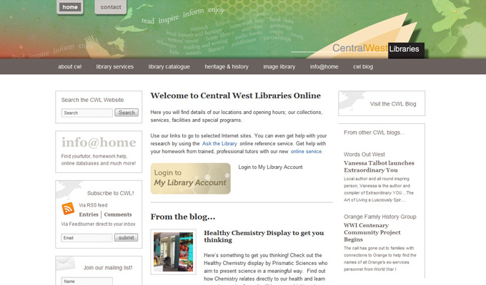 Central West Libraries website home page design