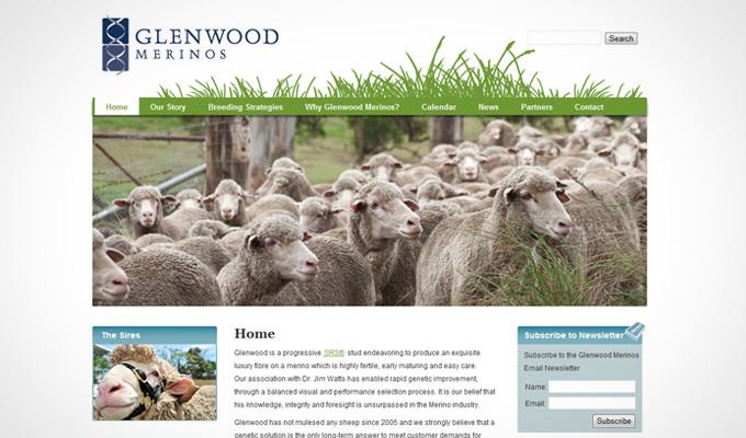 Glenwood Merinos home page site design