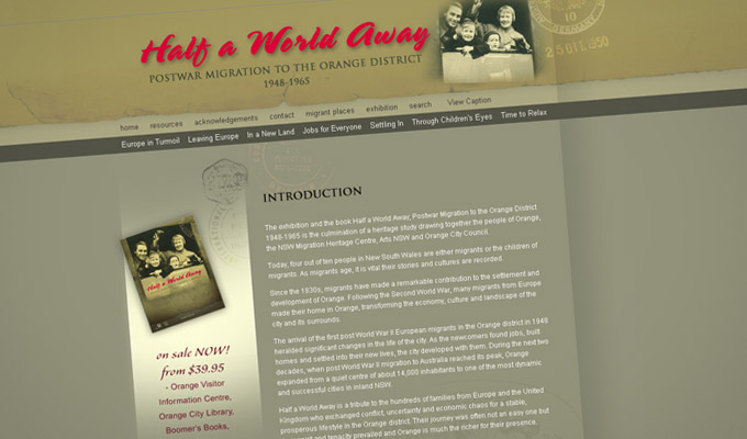 Website design for 'Half a World Away'  - home page