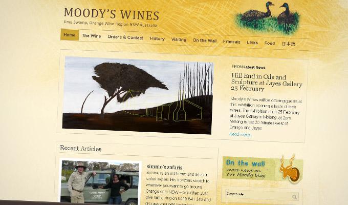 Moody's Wines - Website design