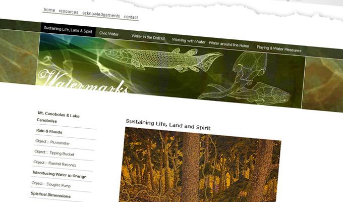 Watermarks online exhibition Website design and development