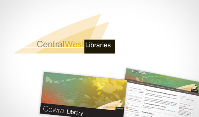 Central West Library - Logo and designs for website and location re-branding exercise