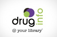 Stacked format variation of the logo 'drug info @ your library'
