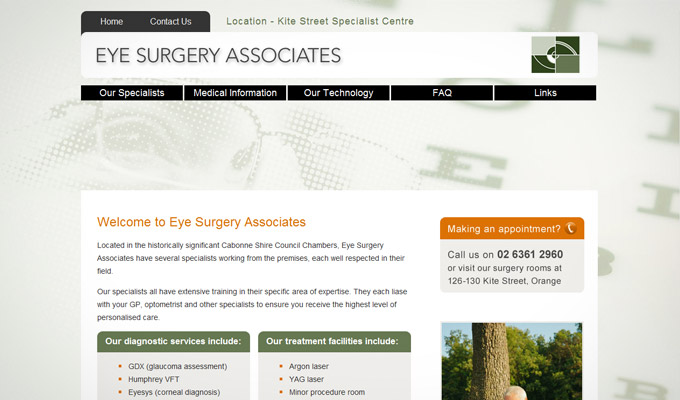 Website design for Eye Surgery Associates