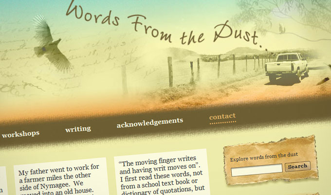 Website design - Words From The Dust - home page screen grab