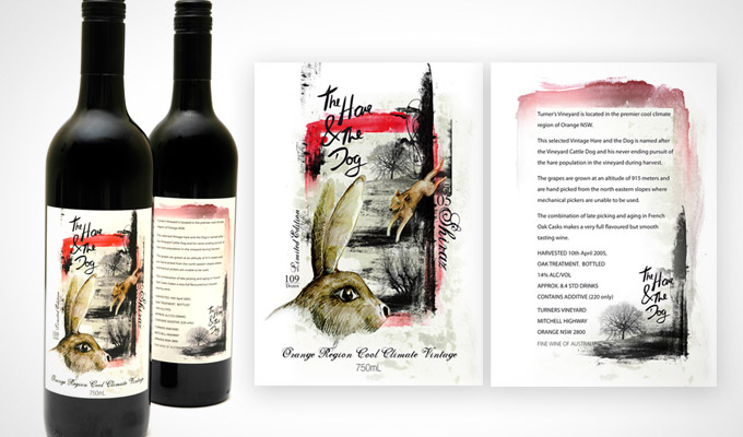 Hare & The Dog, Wine Label Design with illustration