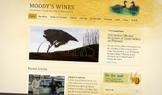 Moody's Wines - Website design