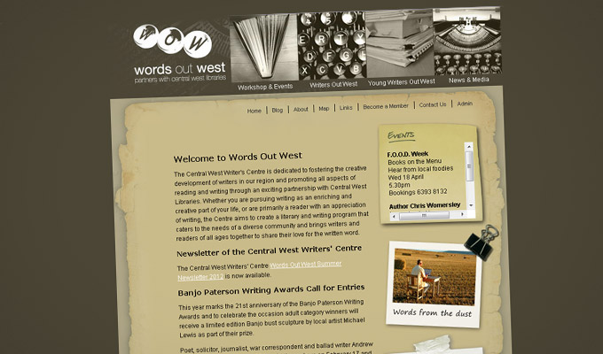 Words Out West Website Design - Home Page