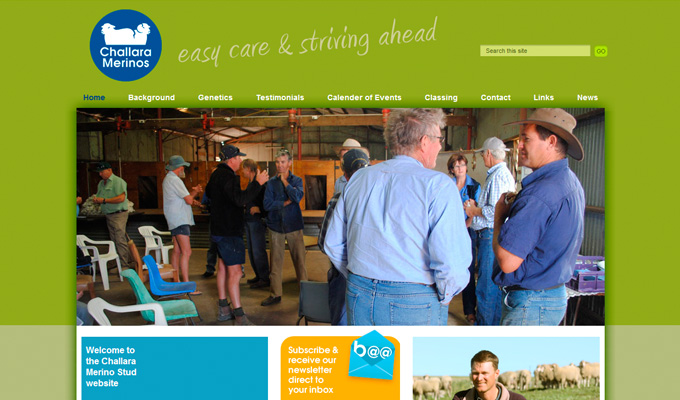 Challara Merinos website homepage