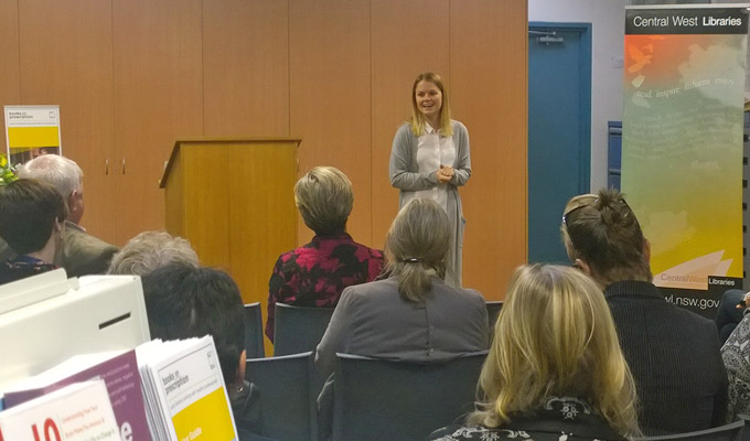 Hayley Nicholls beyondblue ambassador speaks at Books on Prescription launch
