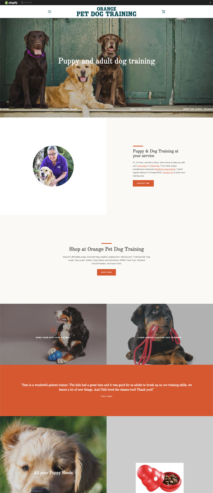 Orange Pet Dog Training ecommerce Shopify Website