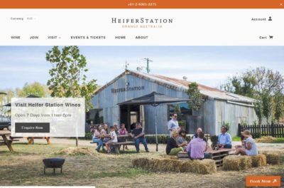 Heifer Station Home page layout - ecommerce site