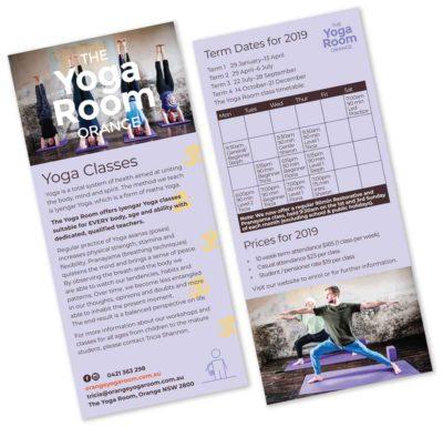 Dl Flyer design for The Yogaroom Orange